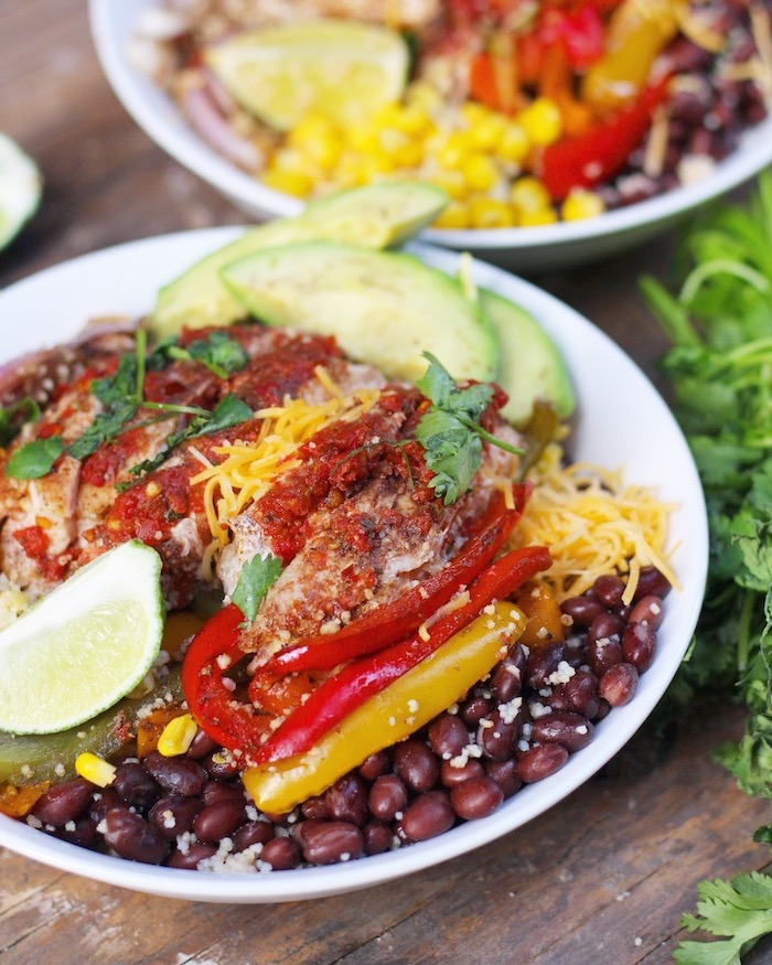 black beans, meal prep recipes weight loss, chicken fillet, avocado slices, peppers and cheese, in white plate