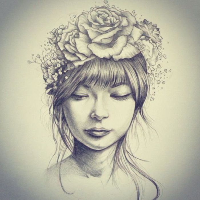 woman with bangs, wearing a flower crown, black pencil sketch, on white background