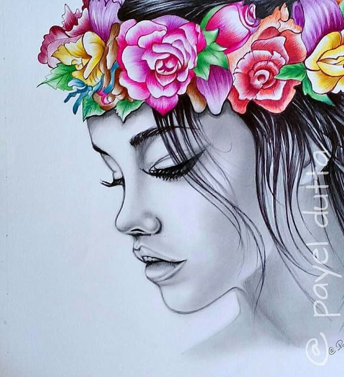 black pencil sketch, of female face, colored flower bouquet, cute flower drawings