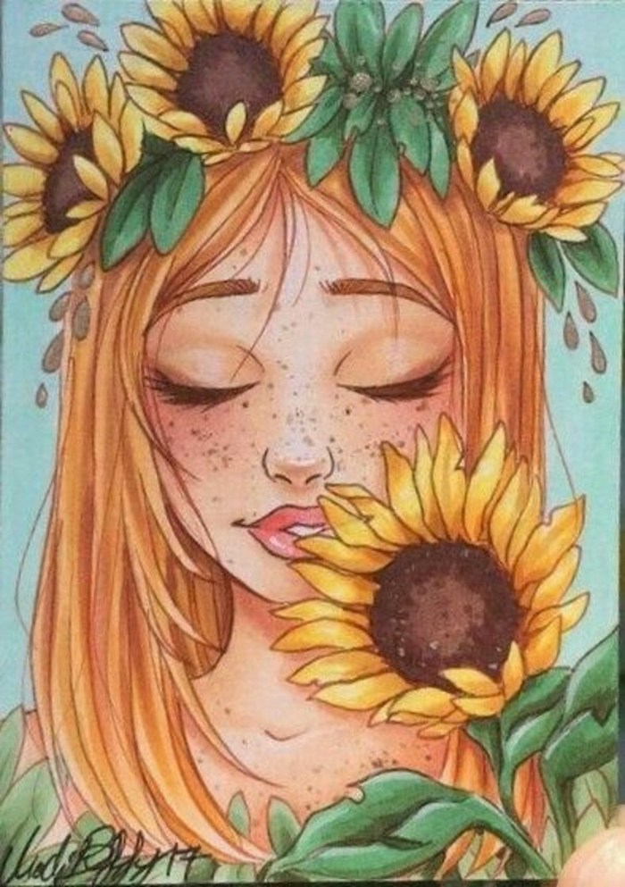 woman with blonde hair, sunflower crown, cute flower drawings, colored painting