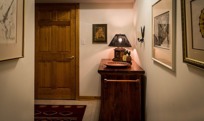 update your entrance hall, wooden furniture, wooden door, white tiled floor, white walls, framed art
