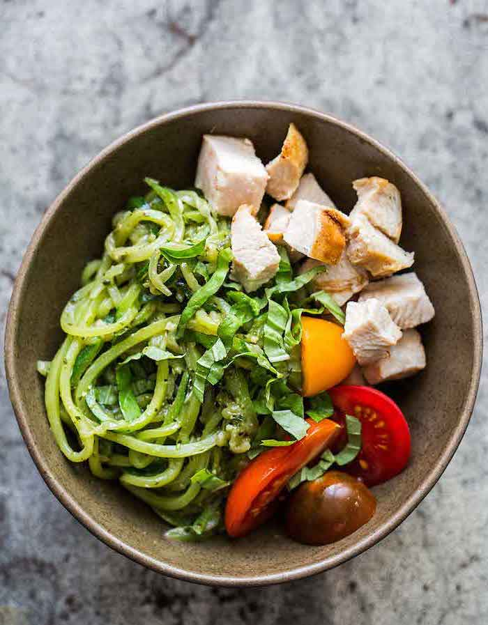 chicken fillet, chopped in cubes, cherry tomatoes, zucchini noodles, in a bowl, what are zoodles