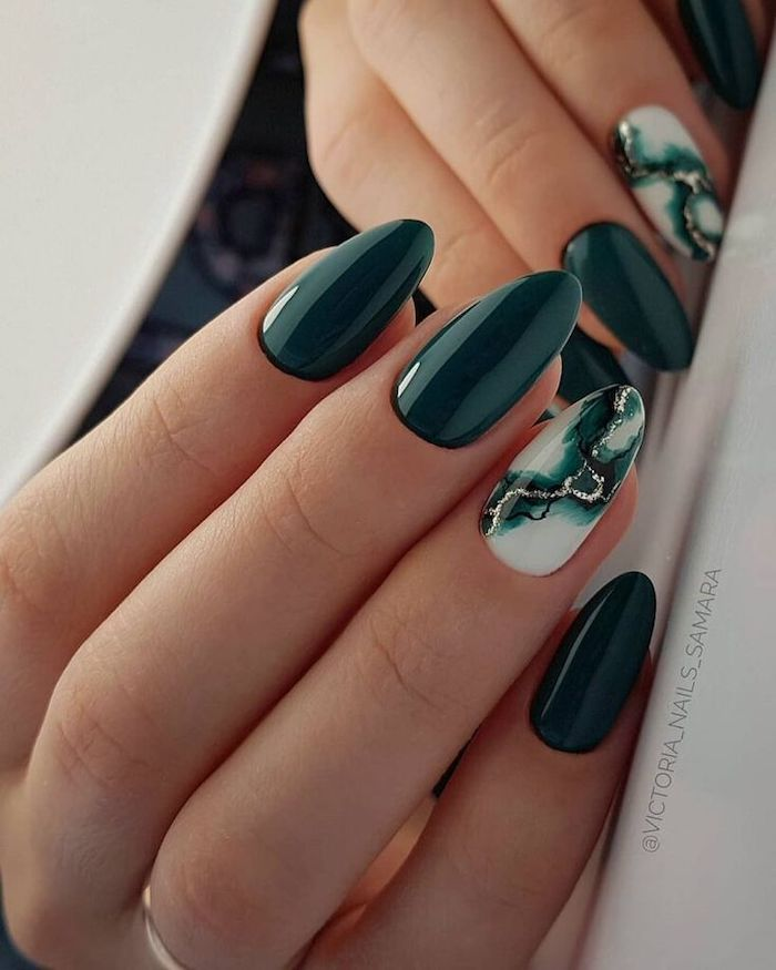 fall nail colors, almond nails, dark green nail polish, green and white, gold glitter marble nail