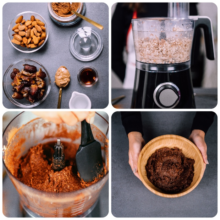 photo collage, ingredients in glass bowls, mixed in a blender, mixture in wooden bowl, energy balls