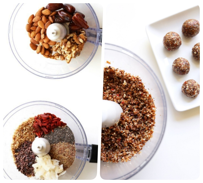 almonds and dates, chia seeds, goji berry, blended together, no bake energy bites, side by side photos