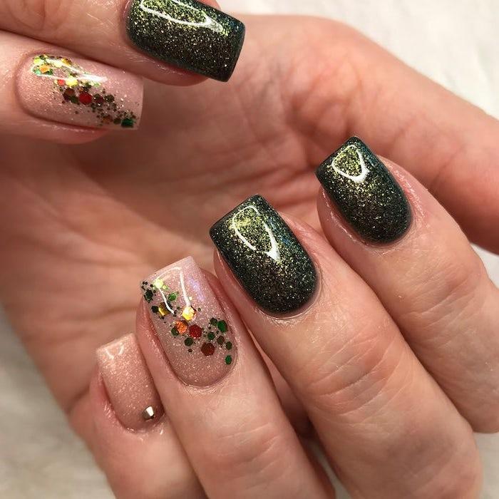 green glitter nail polish, popular nail colors, nude glitter, short square nails, colorful glitter, nail decorations