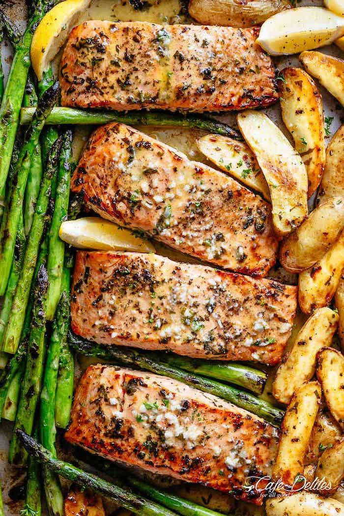 baked salmon, asparagus and potatoes, on the side, lemon slices, weeknight dinners, in a sheet pan