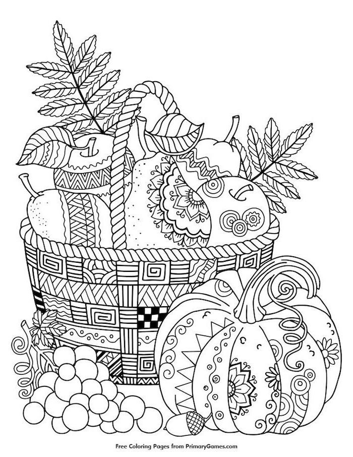 black and white sketch, basket full of fruits, pumpkin and grapes, thanksgiving coloring sheets, apples and pears