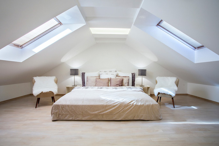 wooden floor, vault definition, white aesthetics, big skylights, king size bedroom, two armchairs
