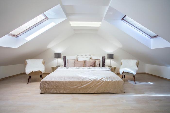 wooden floor, vault definition, white aesthetics, big skylights, king size bedroom, two armchairs