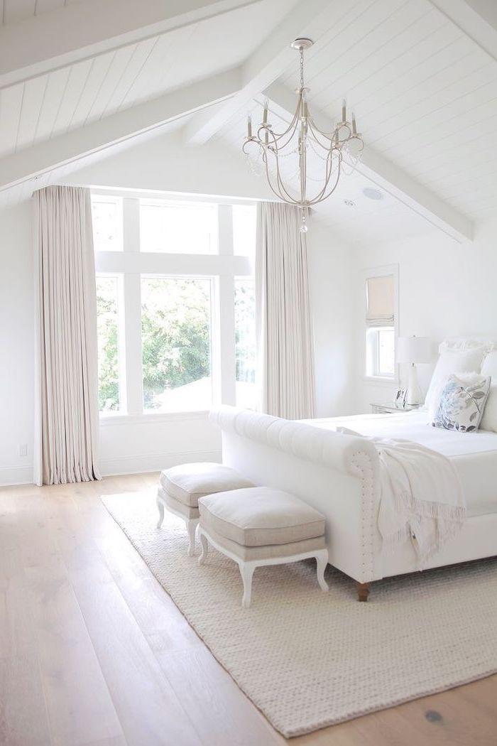 hanging chandelier, wooden floor, vault definition, white aesthetic, beige carpet, beige curtains