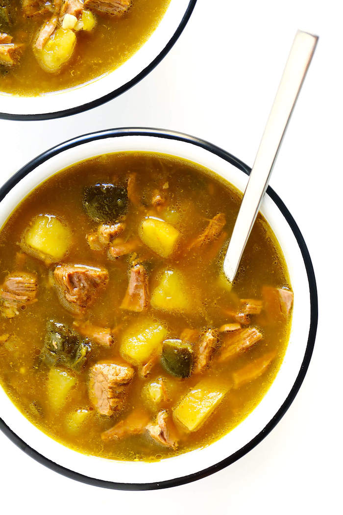 white table, silver spoon, steak soup, weight loss diet, chopped potatoes, white bowl