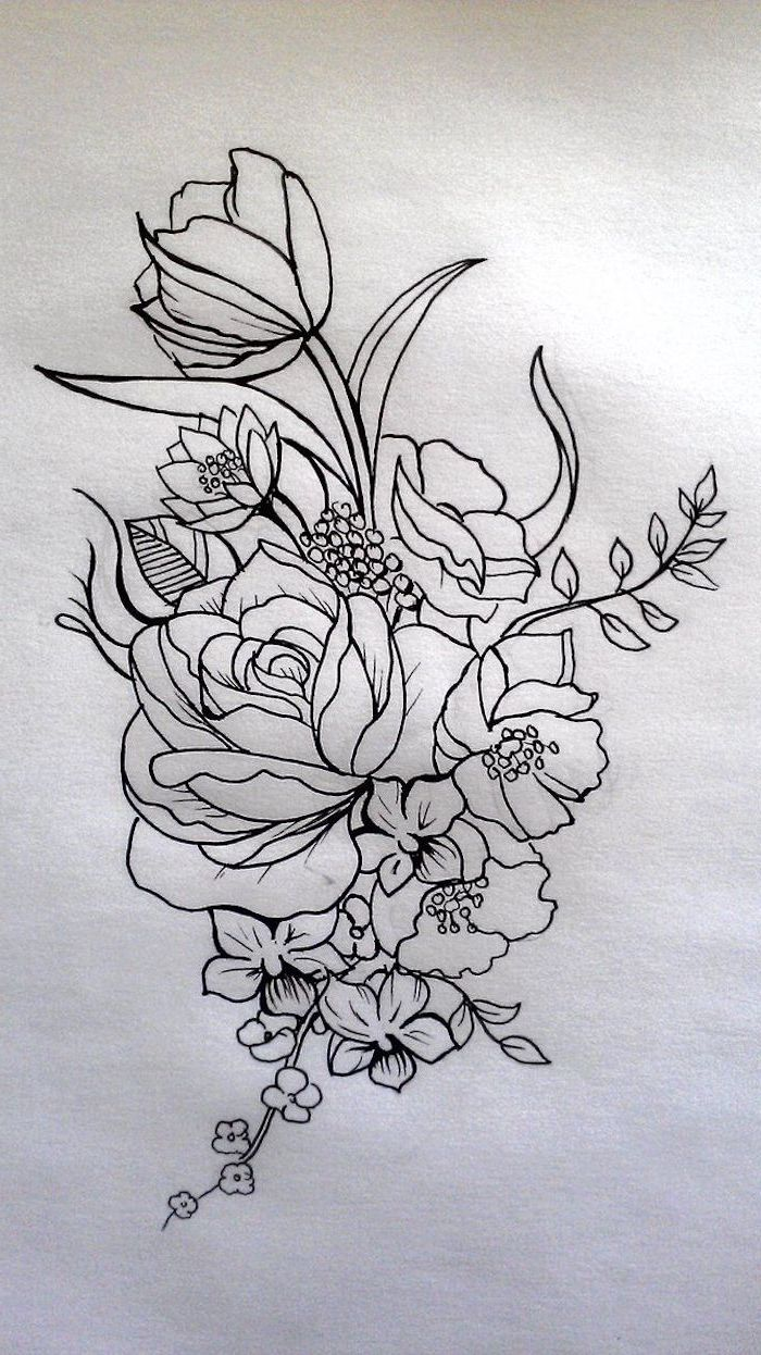 black and white, pencil sketch, flower thigh tattoo, flowers intertwined together