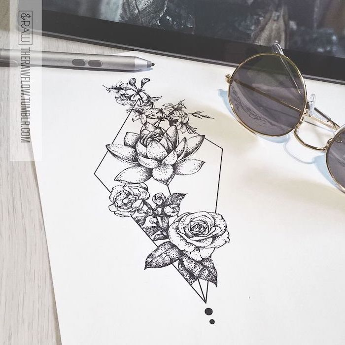 flowers intertwined together, flower thigh tattoo, black and white, pencil sketch