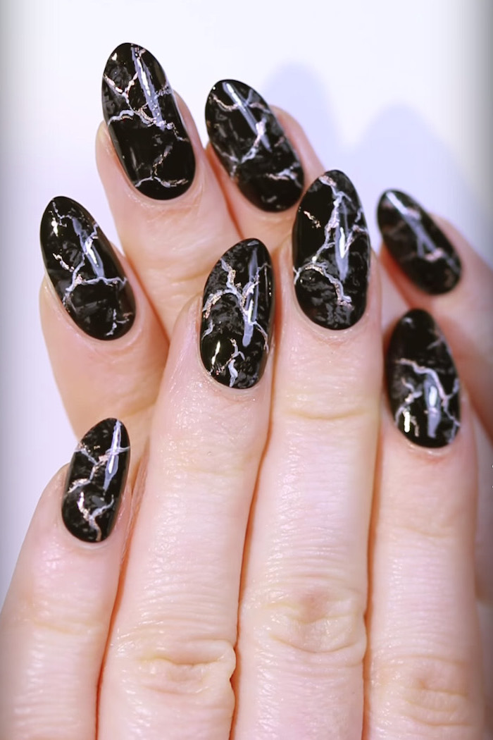 black and grey, silver glitter marble, fall nail colors, almond nails, white background