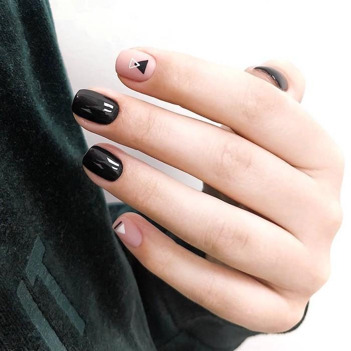 black nail polish, nude nail polish, fall nail colors, geometrical design, small triangles, white background