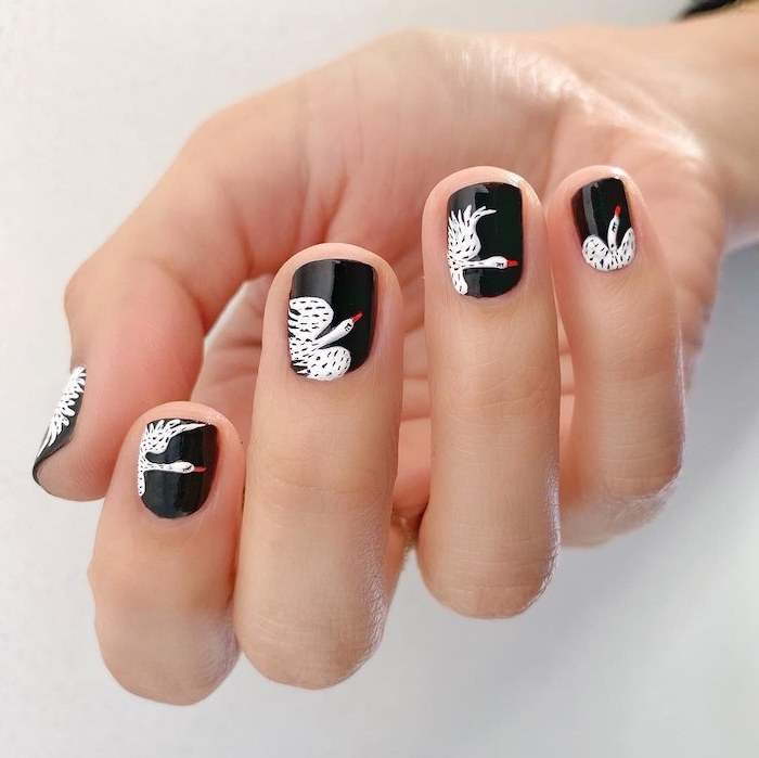 black nail polish, white storks, nail decorations, short squoval nails, white background, fall nail colors