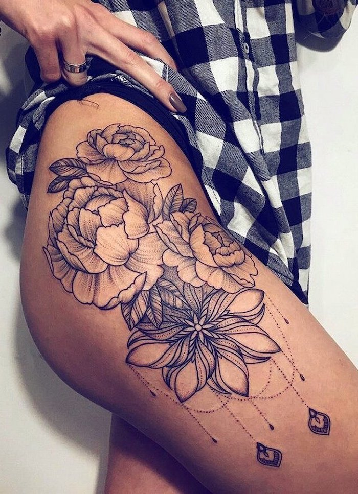 roses and flowers, thigh tattoos for women, black and white, plaid shirt, white background