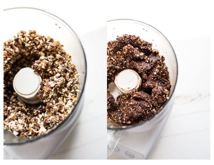 different nuts, mixed together in a blender, side by side photos, healthy peanut butter balls