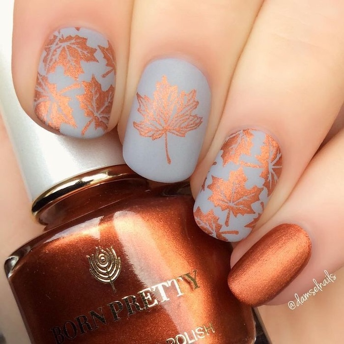 grey matte nail polish, golden brown, nail polish bottle, fall nail designs, fall leaves, nail decorations