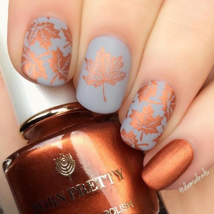 grey matte nail polish, golden brown, nail polish bottle, fall nail designs, fall leaves, nail decorations