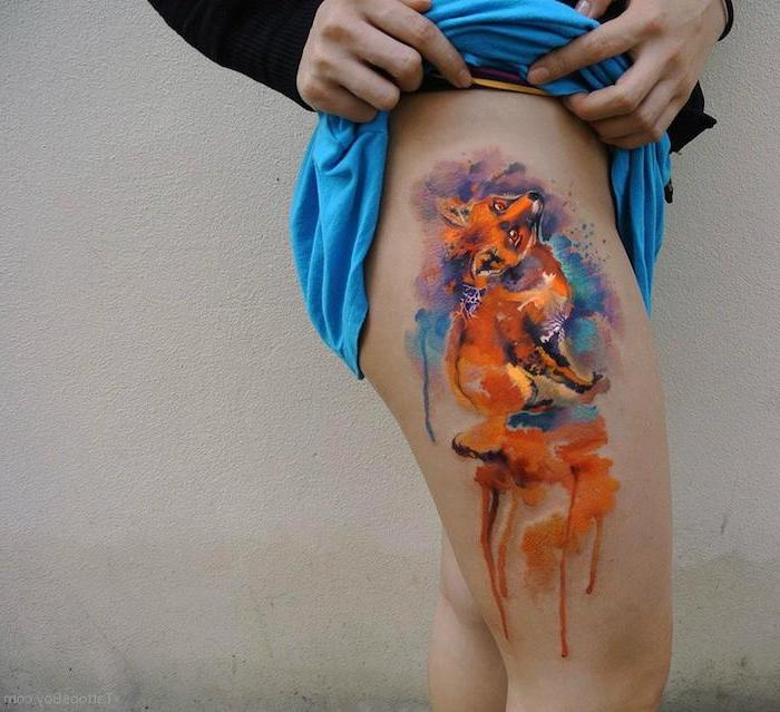 watercolor tattoo, thigh tattoos, small fox ,blue skirt, black blouse, white background