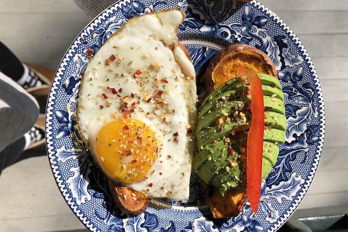 bakes sweet potato, avocado sliced, fried egg, healthy meal plans, blue white plate