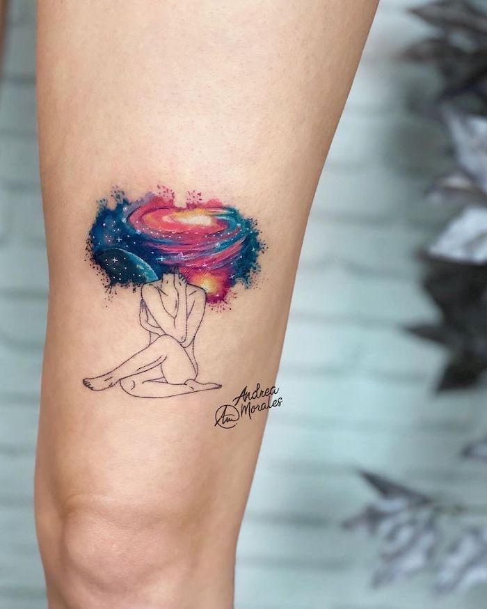 thigh tattoos, naked woman sitting, watercolor galaxy, instead of head, blurred background