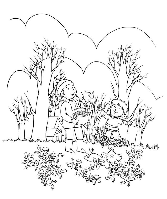 thanksgiving coloring pages, boy and father, collecting fall leaves dog playing around them, black and white sketch