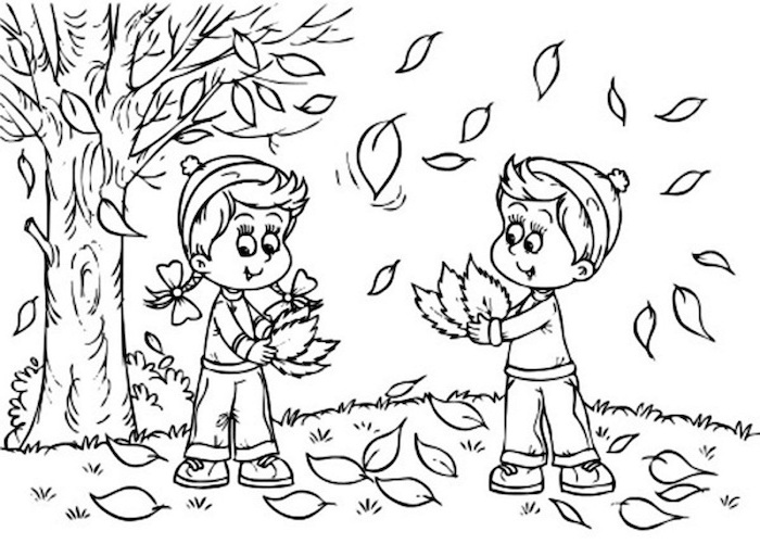 boy and girl, playing with falling leaves, under a tree, coloring pictures for adults, black and white sketch
