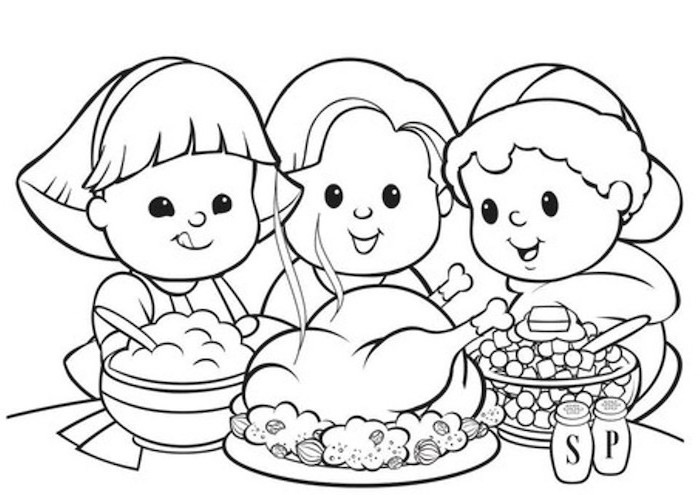 boy girl and a woman, sitting around the table, coloring pictures for adults, roasted turkey, stuffing in a bowl