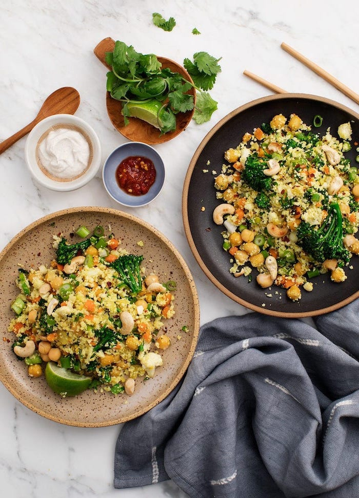 marble countertop, easy dinner recipes for two, two plates, broccoli salad inside, with quinoa and chickpeas