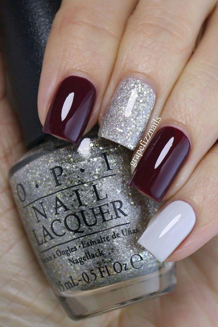 burgundy red, silver glitter, nail polish, hand holding, nail polish bottle, popular nail colors, short square nails