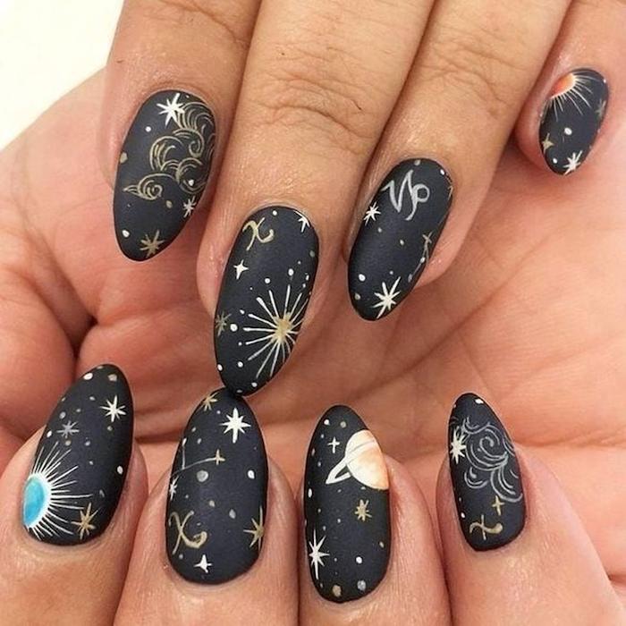 trending nail colors, horoscope nails, star signs, constellations and planets, nail decorations, black matte, nail polish