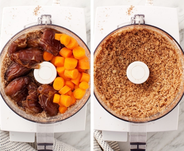 carrots and dates, mixed together in a blender, peanut butter oatmeal balls, side by side photos