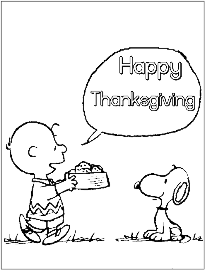 coloring pictures for adults, happy thanksgiving, charlie brown and snoopy, black and white sketch