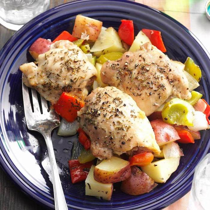 sweet potatoes, peppers in blue plate, chicken breast cubes, meal prep for weight loss, silver fork