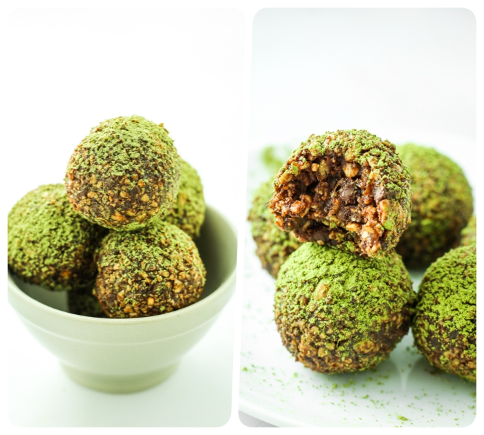 side by side photos, healthy peanut butter balls, covered in matcha powder, in a white bowl