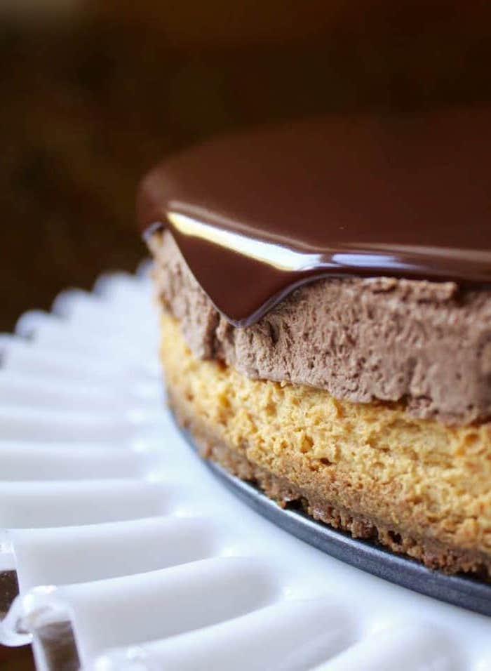 white cake stand, two layers, pumpkin cake, chocolate glaze, best thanksgiving desserts