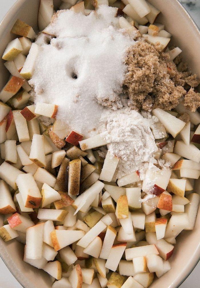 chopped apples, flour and sugar, cinnamon powder, in white casserole, easy thanksgiving desserts