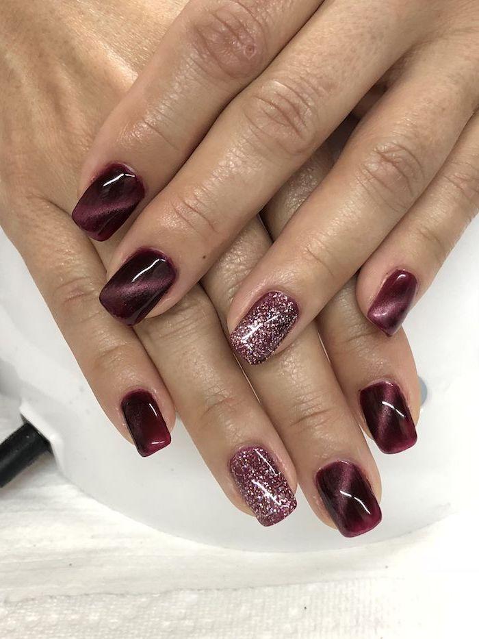 short squoval nails, fall nail designs, chrome purple nail polish, purple glitter, white background, fall nail designs