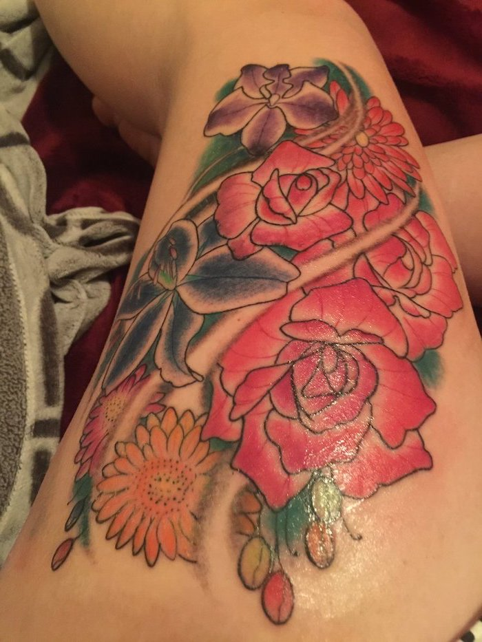 colored tattoo, tattoo designs for women, pink and blue, purple and orange flowers