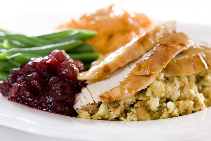 turkey slices, cranberry sauce, green beans, how long to bake a turkey, white plate, white background