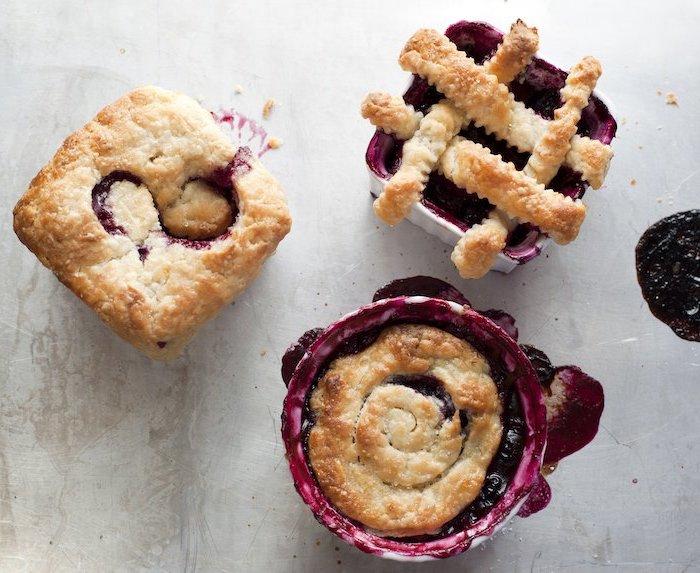 mini tarts, with blackberry jam, chocolate thanksgiving desserts, granite countertop