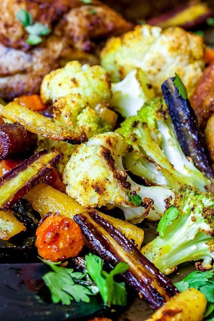cauliflower and broccoli, carrots and cabbage, weight loss meal plan, chicken with vegetables