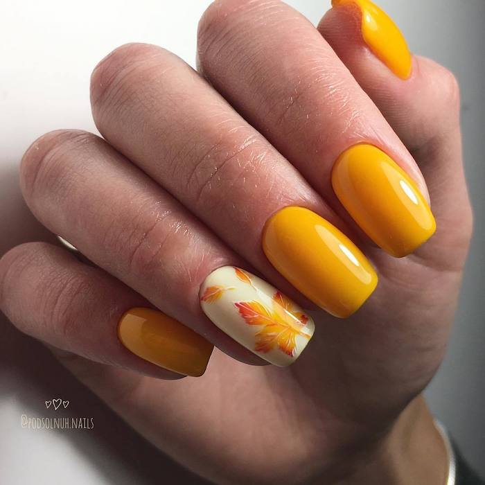 yellow nail polish, yellow and orange, nail polish, short squoval nails, white background, nail color ideas