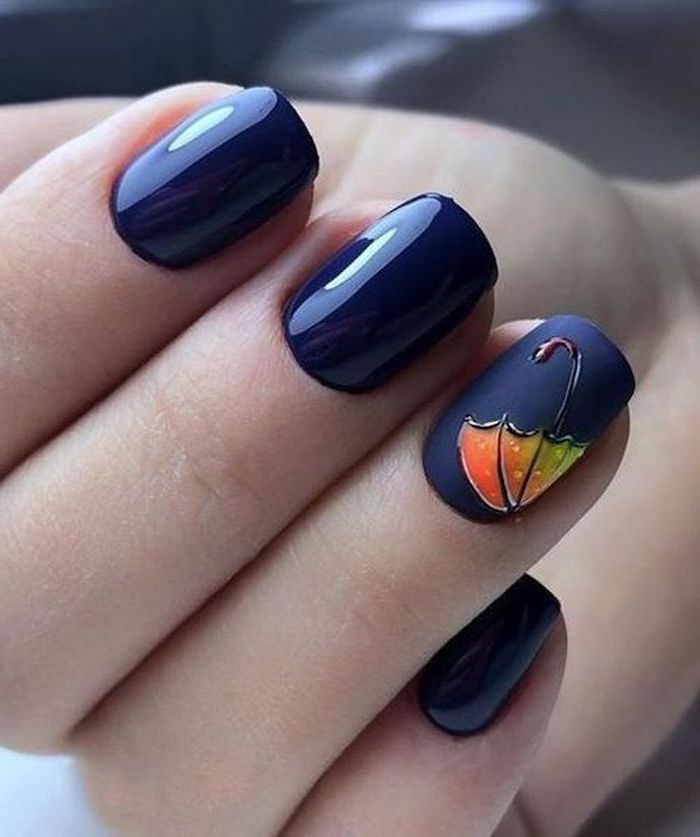 dark blue, matte nail polish, orange and green umbrella, nail decoration, trending nail colors, short squoval nails