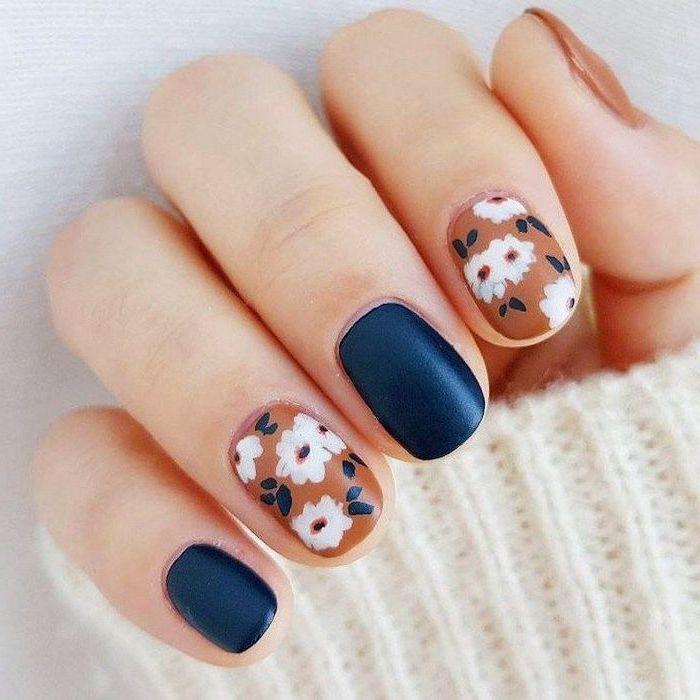 blue and orange, matte nail polish, white flowers, nail decorations, trending nail colors, short squoval nails