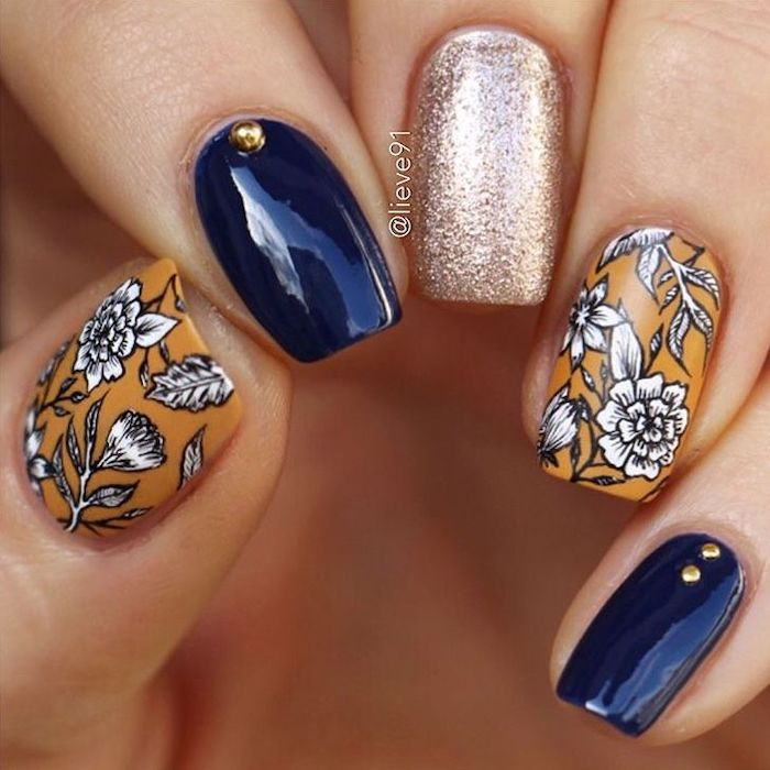 blue and orange, nail polish, trending nail colors, silver glitter, white flowers, nail decorations, square nails