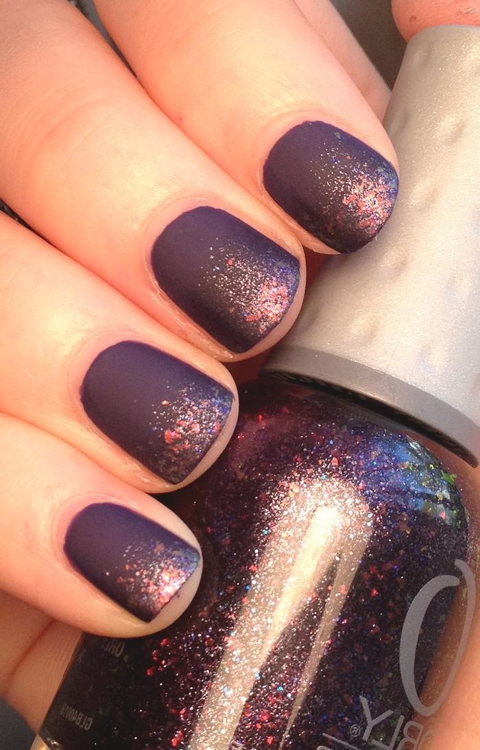 purple matte, nail polish, glitter on top, 2019 nail trends, short squoval nails, nail polish bottle
